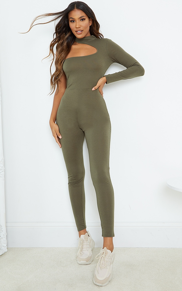 Khaki Asymmetric High Neck Jumpsuit 1
