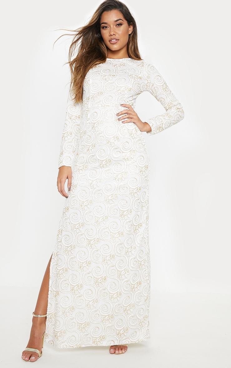 afd98867694c6 White Glitter Long Sleeve Maxi Dress | PrettyLittleThing USA