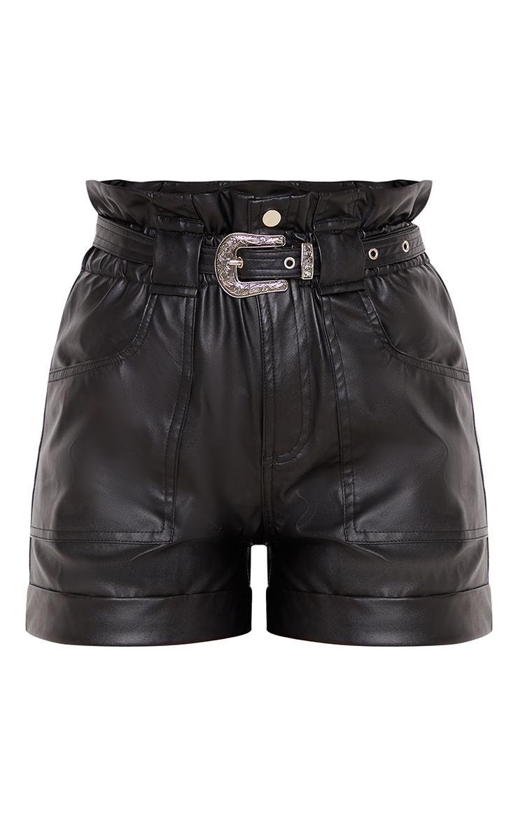 Black Western Belt Faux Leather Shorts 3