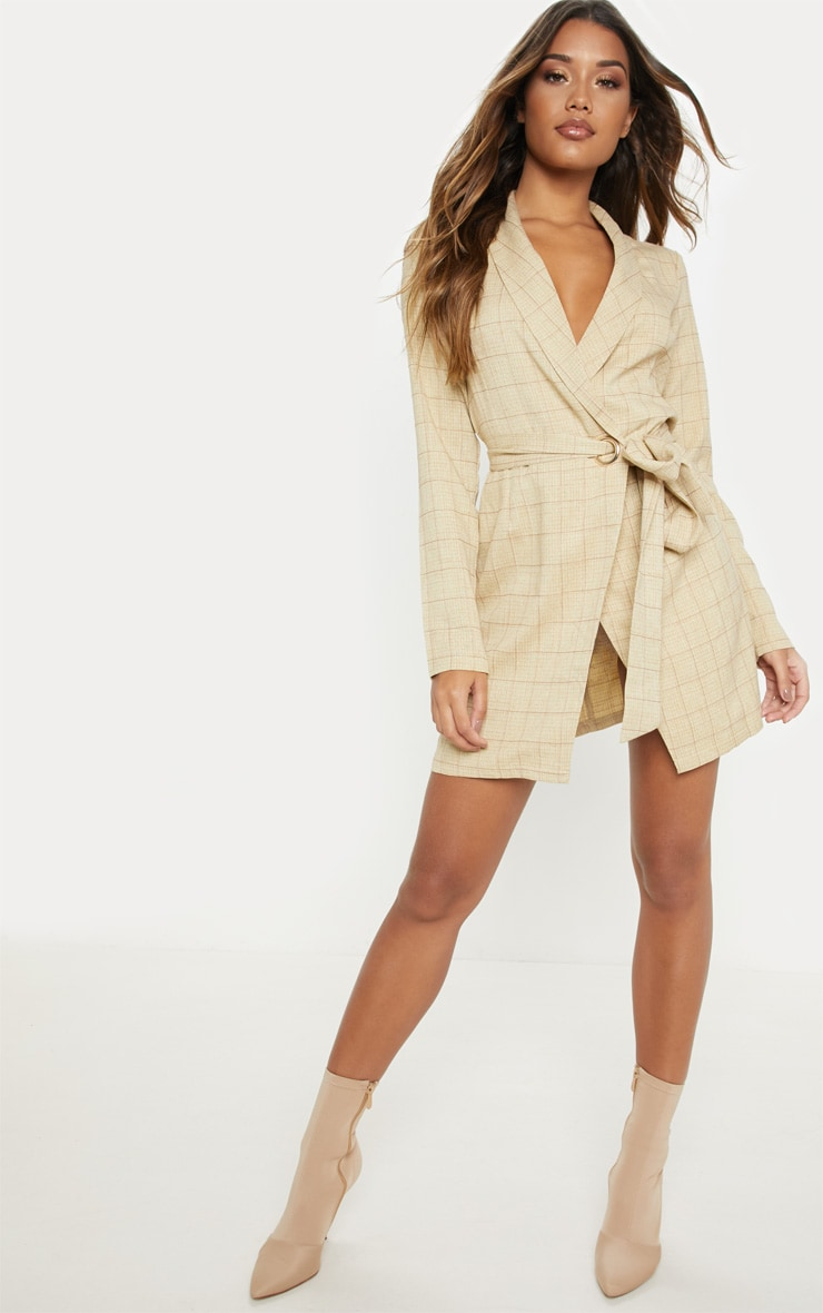Stone Checked Blazer Dress by Prettylittlething