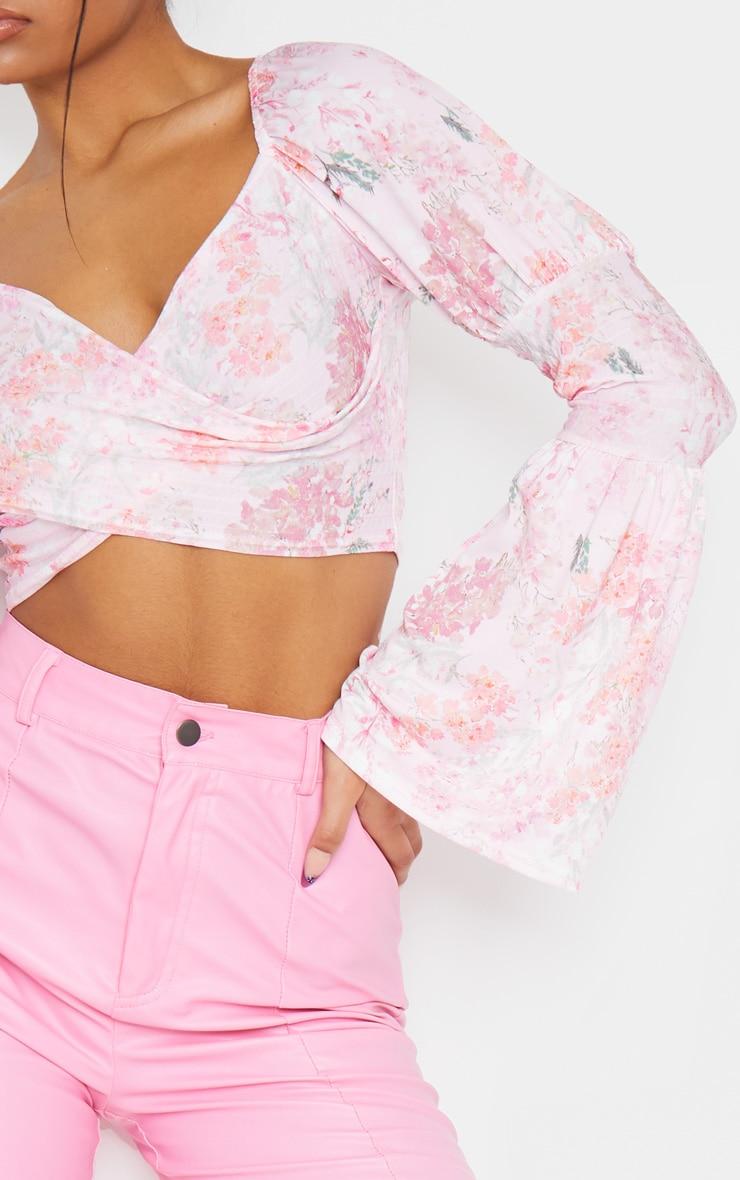 Pink Floral Print Shirred Long Sleeve Crop Top 4
