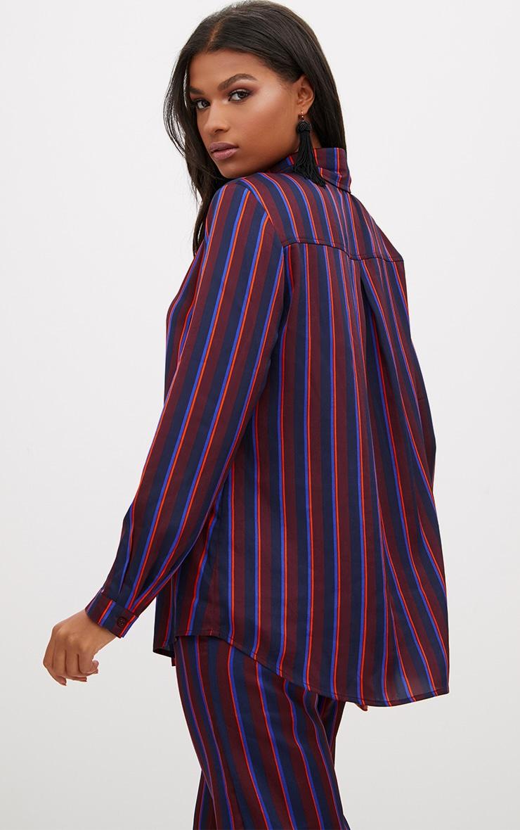 Navy Satin Stripe Shirt 2