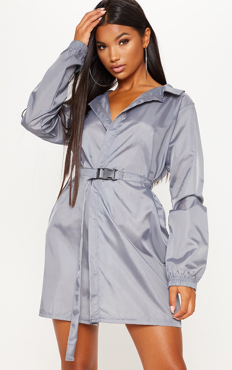 Grey Shell Oversized Belted Dress