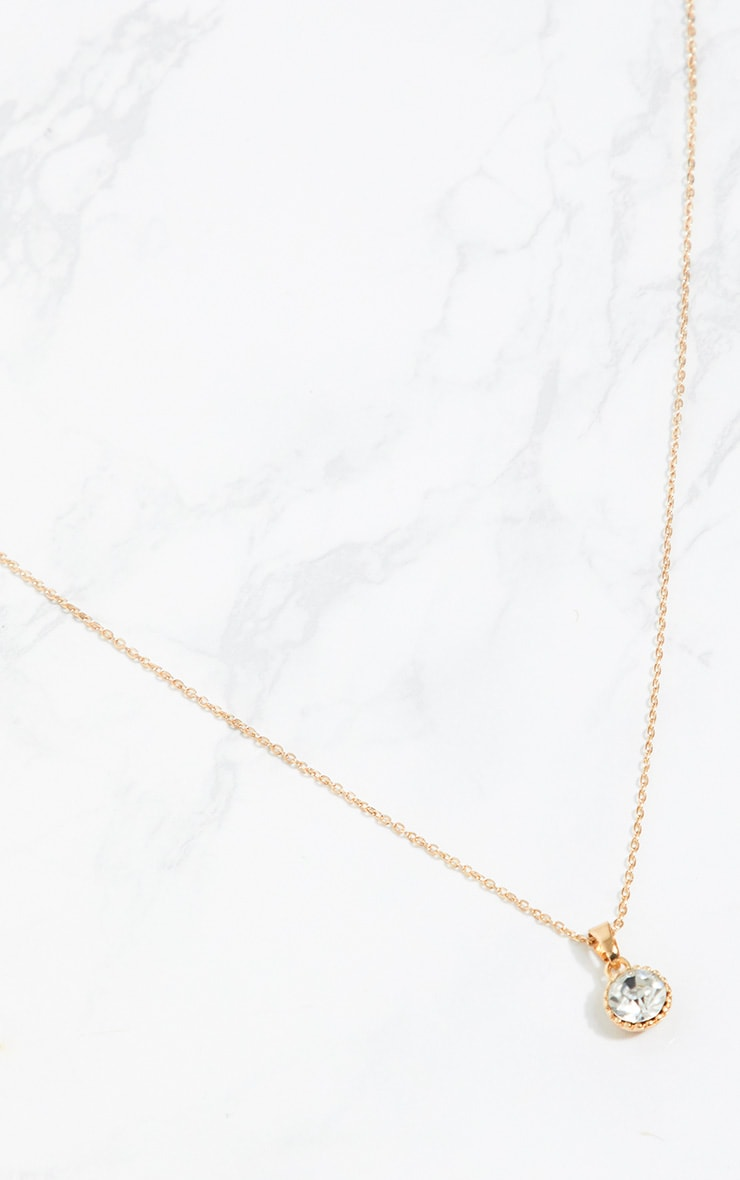 Gold Diamante Pendant Necklace 3