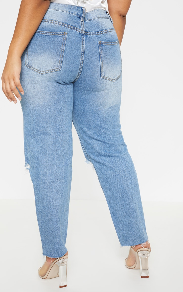Plus Mid Wash Rip Straight Leg Jean 4
