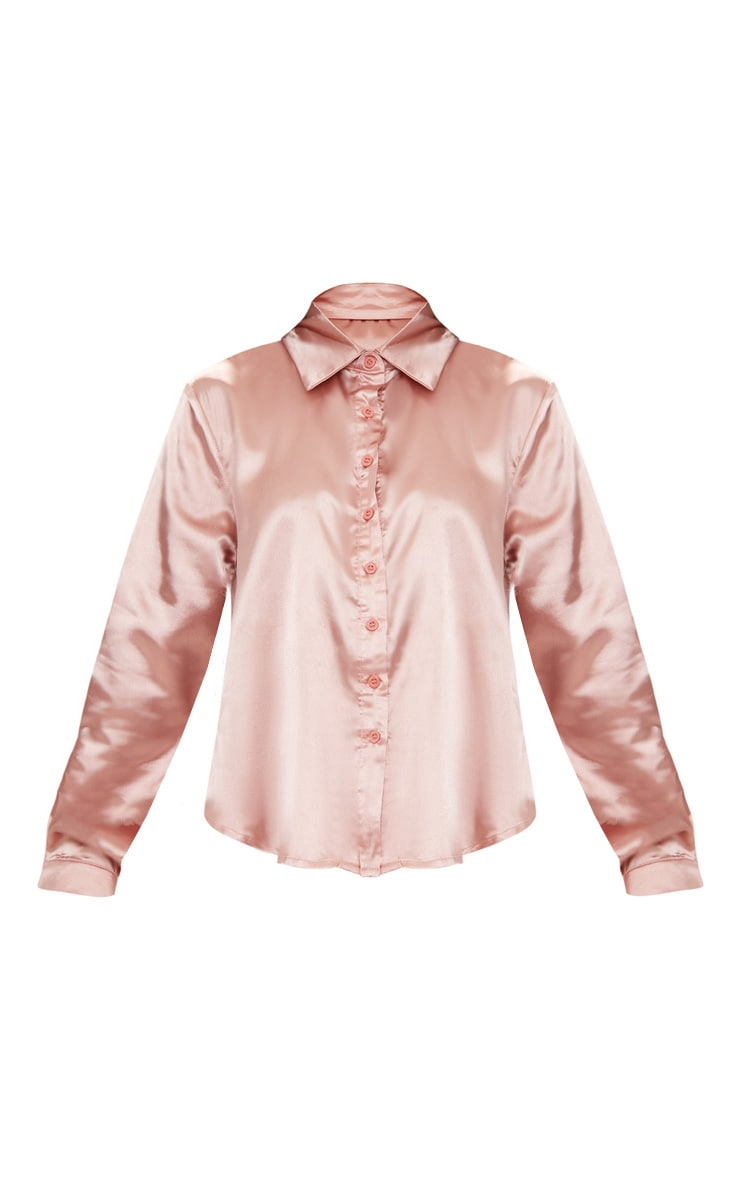 Petite Dusty Pink Satin Shirt 3