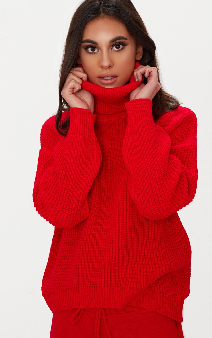 Red Roll Neck Basic Jumper 5