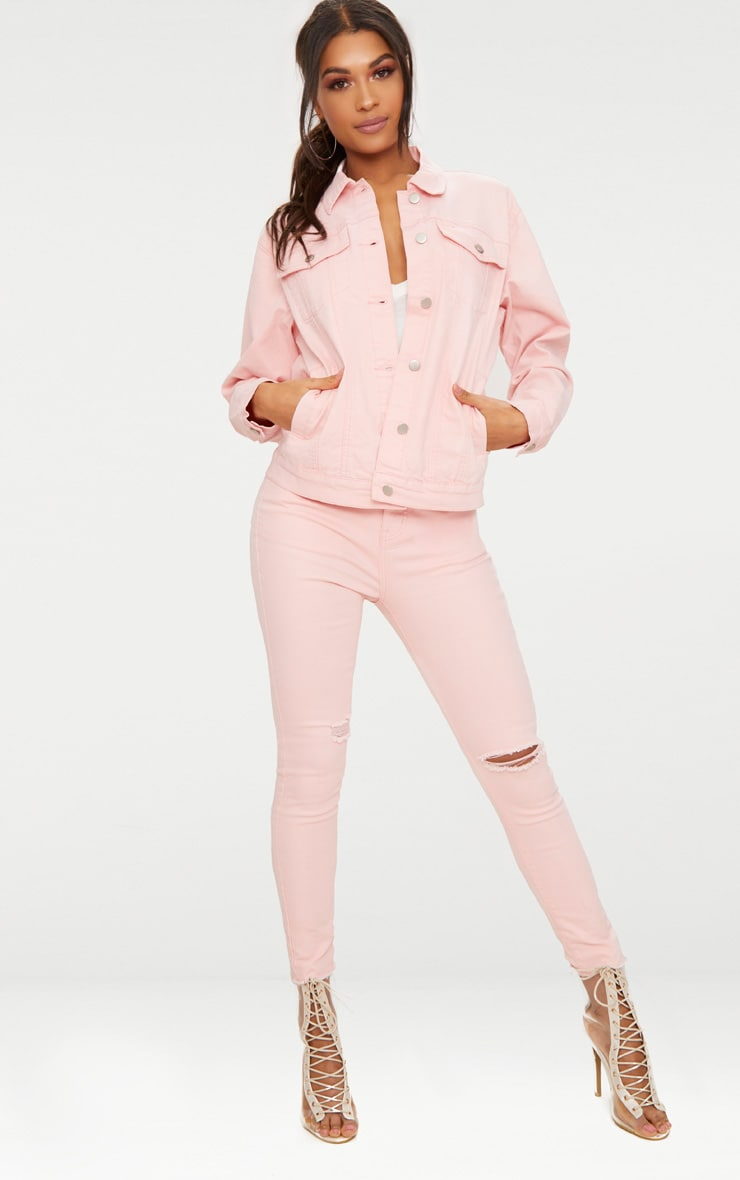 Baby Pink Boyfriend Fit Denim Jacket 4