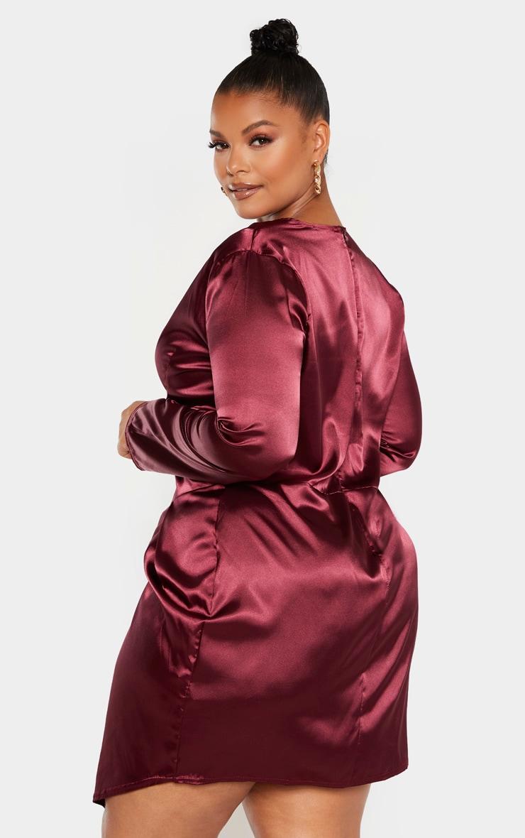 Plus Burgundy Satin Corset Bodycon Dress 2
