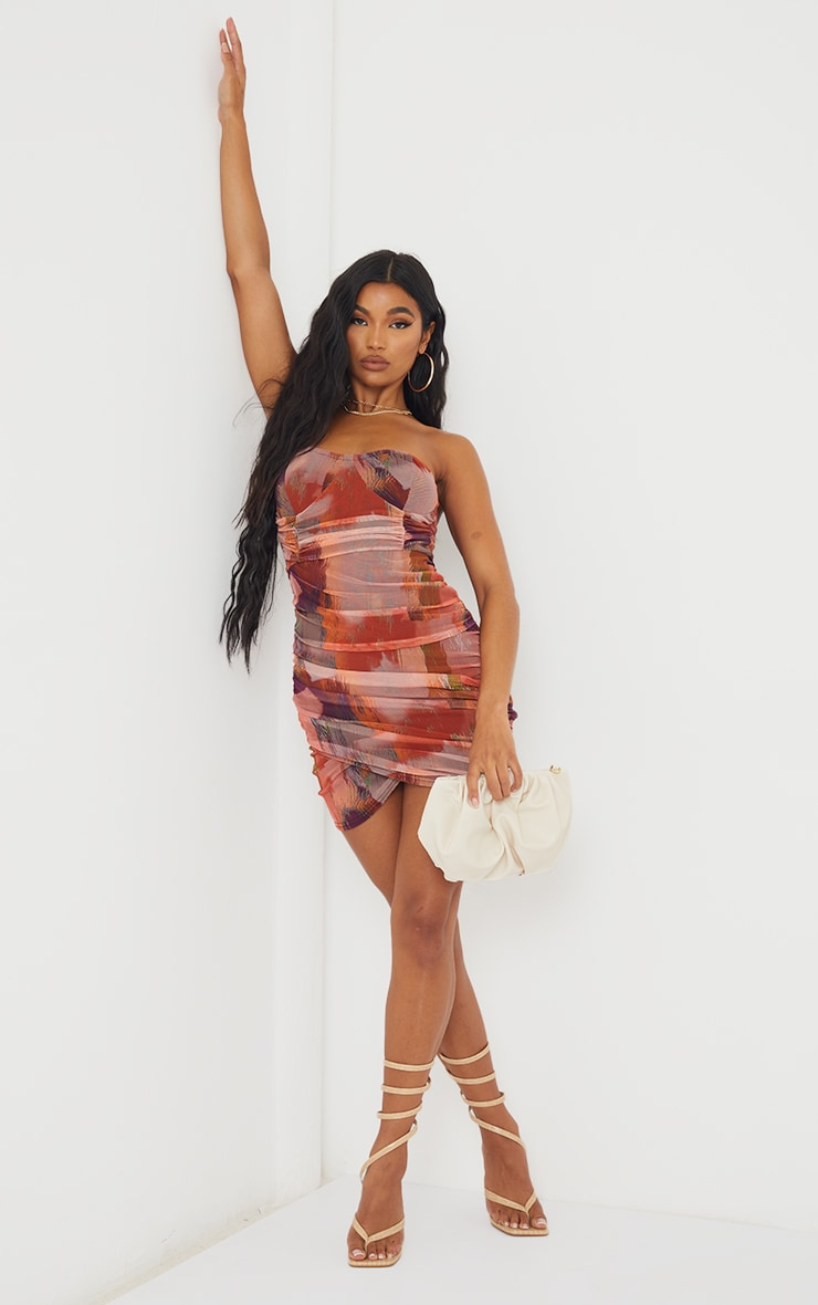 Orange Abstract Print Bandeau Ruched Bodycon Dress 3