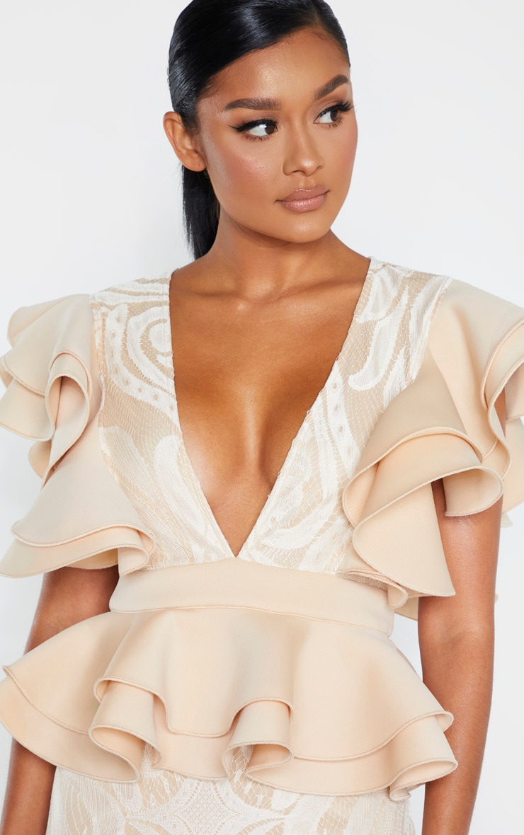 Nude Ruffle Detail Plunge Midi Dress 5
