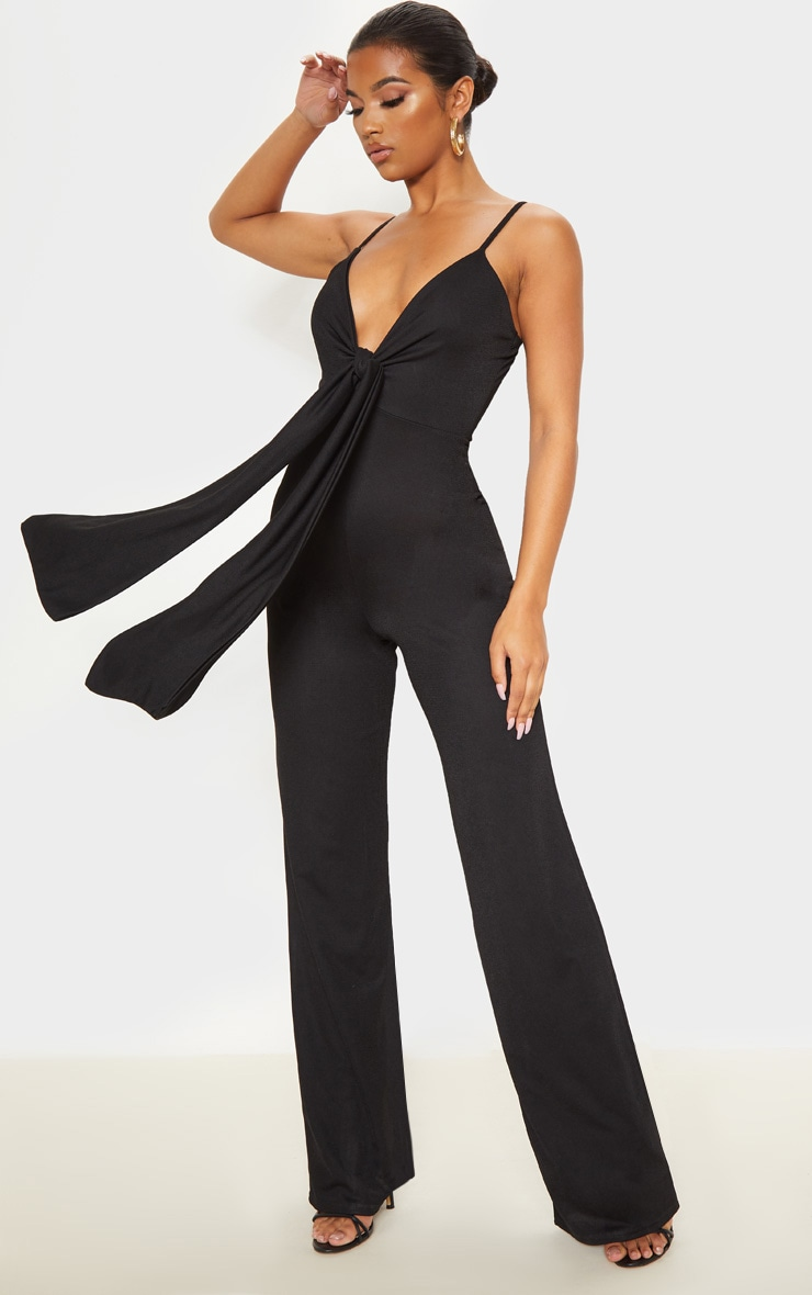 Black Tie Front Strappy Jumpsuit by Prettylittlething