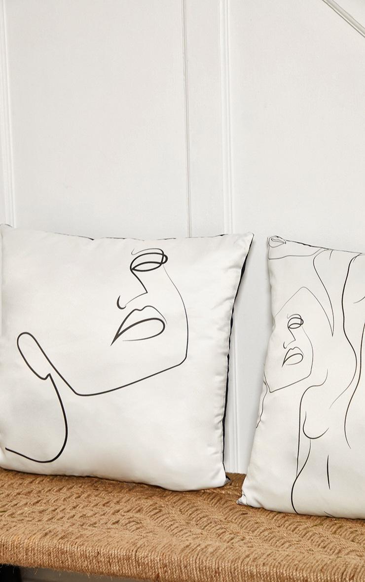 White Satin Silhouette Cushion 2