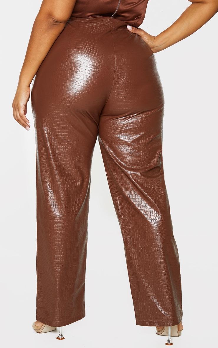 Plus Brown Croc PU Embossed Pants 3
