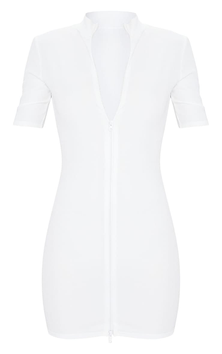 White Zip Front Rib Short Sleeve Bodycon Dress 1