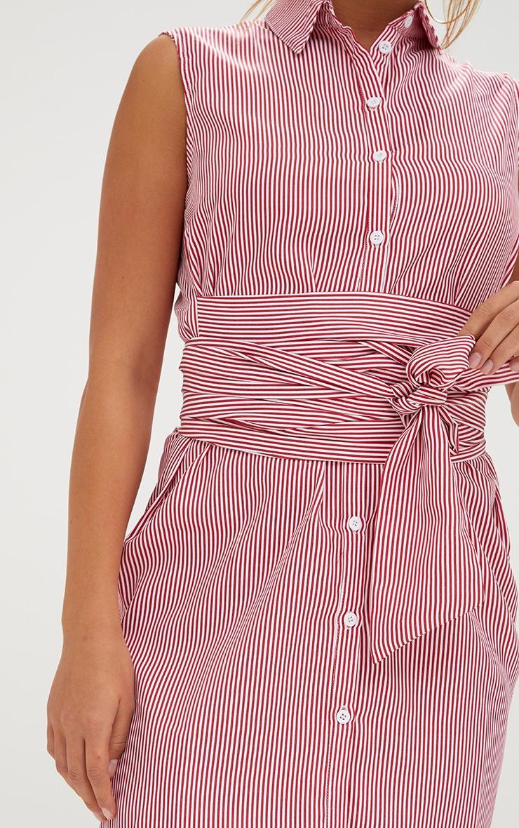 Red Sleeveless Pinstripe Tie Waist Shirt Dress 5