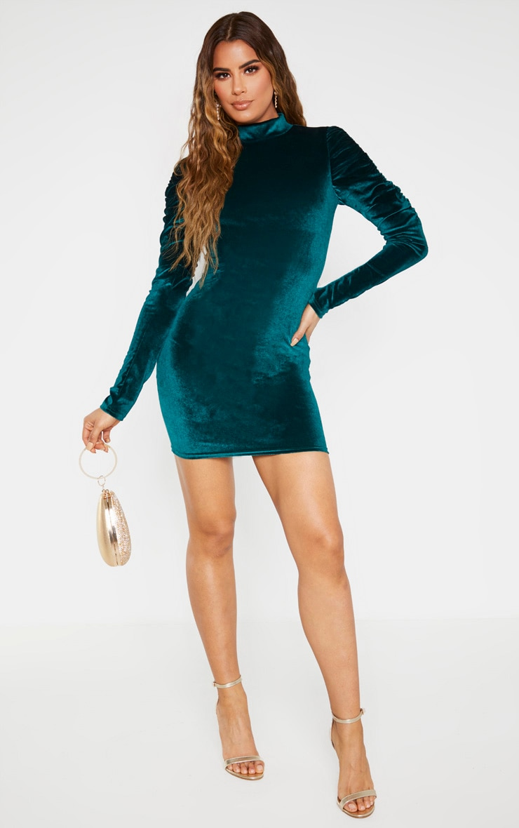 Tall Emerald Green Velvet Puff Sleeve Mini Dress  3