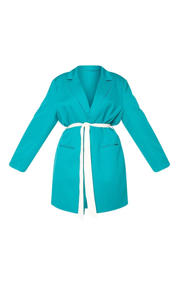 Plus Emerald Contrast Tie Waist Blazer Dress 5