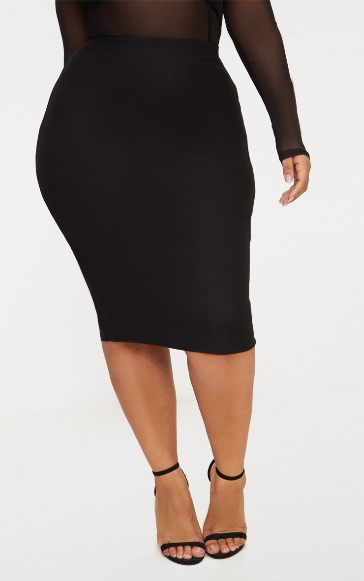 Plus Black Mesh Midi Skirt 2