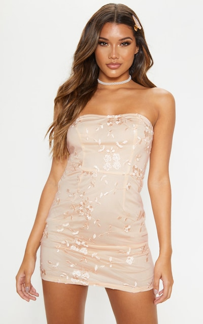 Nude Floral Embroidered Bandeau Bodycon Dress