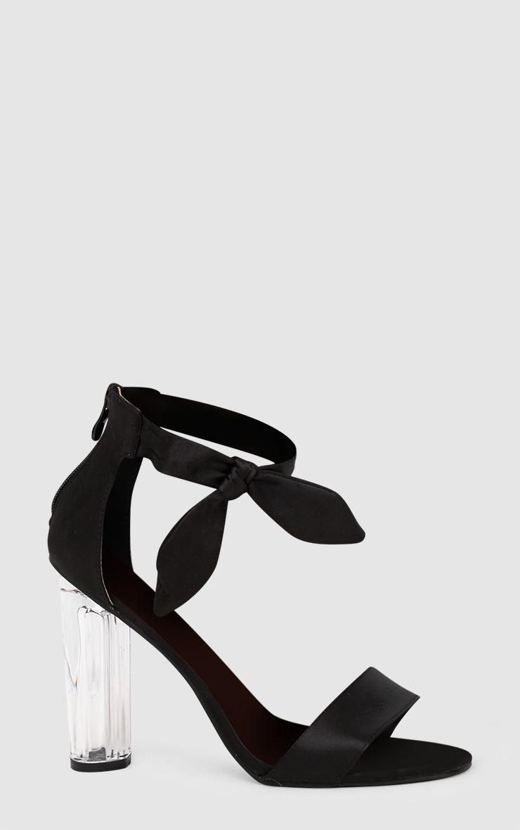 Black Satin Bow Clear Heel Sandal 3