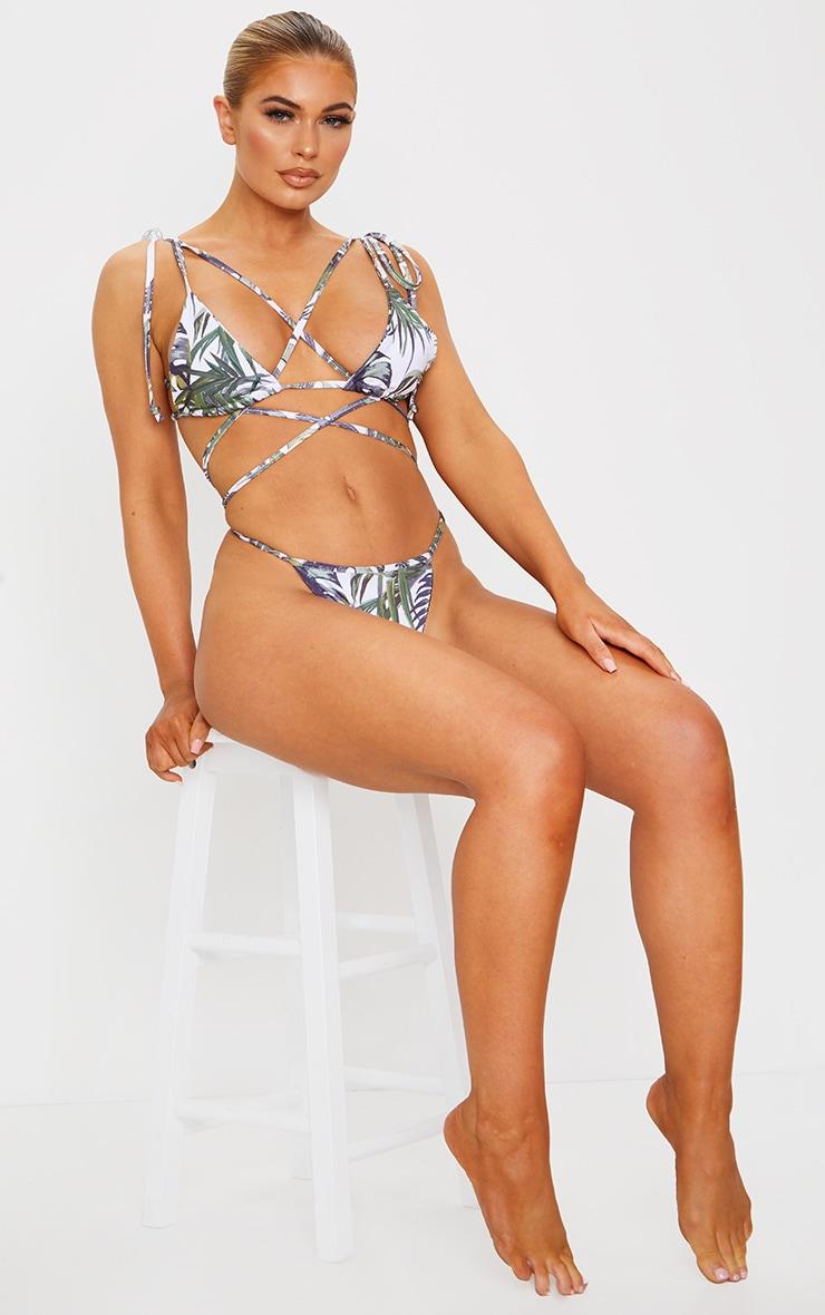 White Palm Print Triangle Tie Back Mini Bikini Top 3