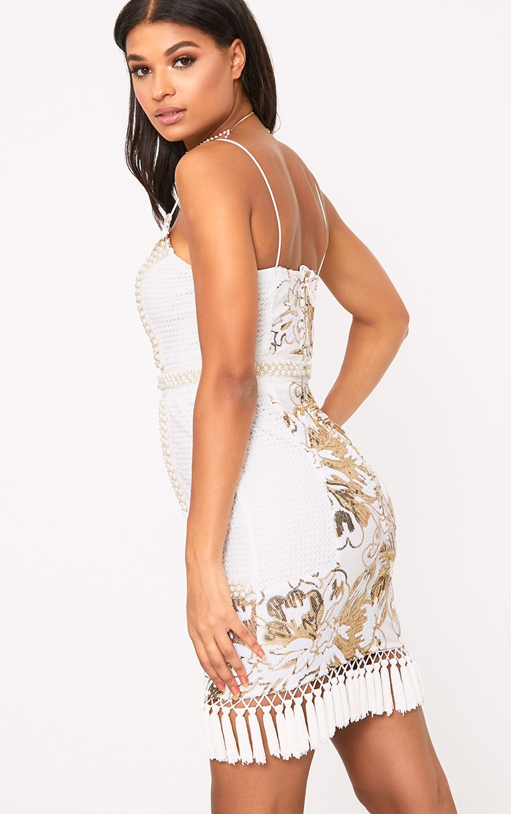 Ana White Premium Strappy Plunge Tassel Sequin Mini Dress 2