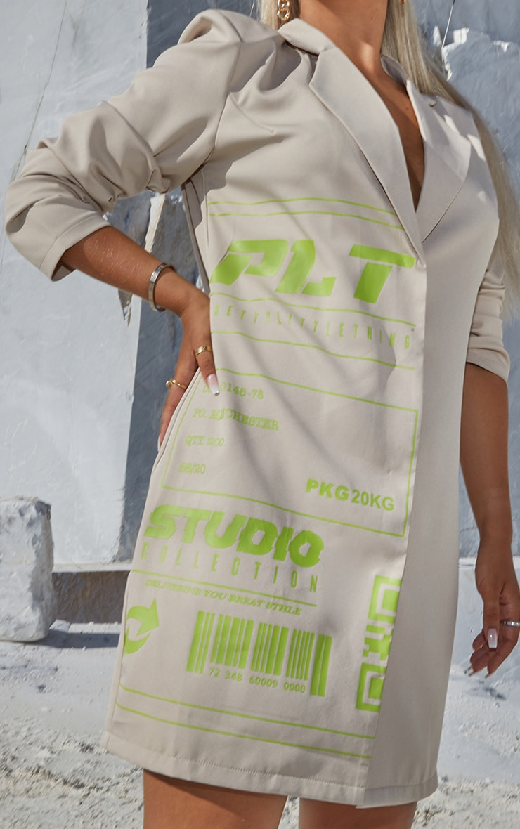 PRETTYLITTLETHING Stone Slogan Blazer Dress 4