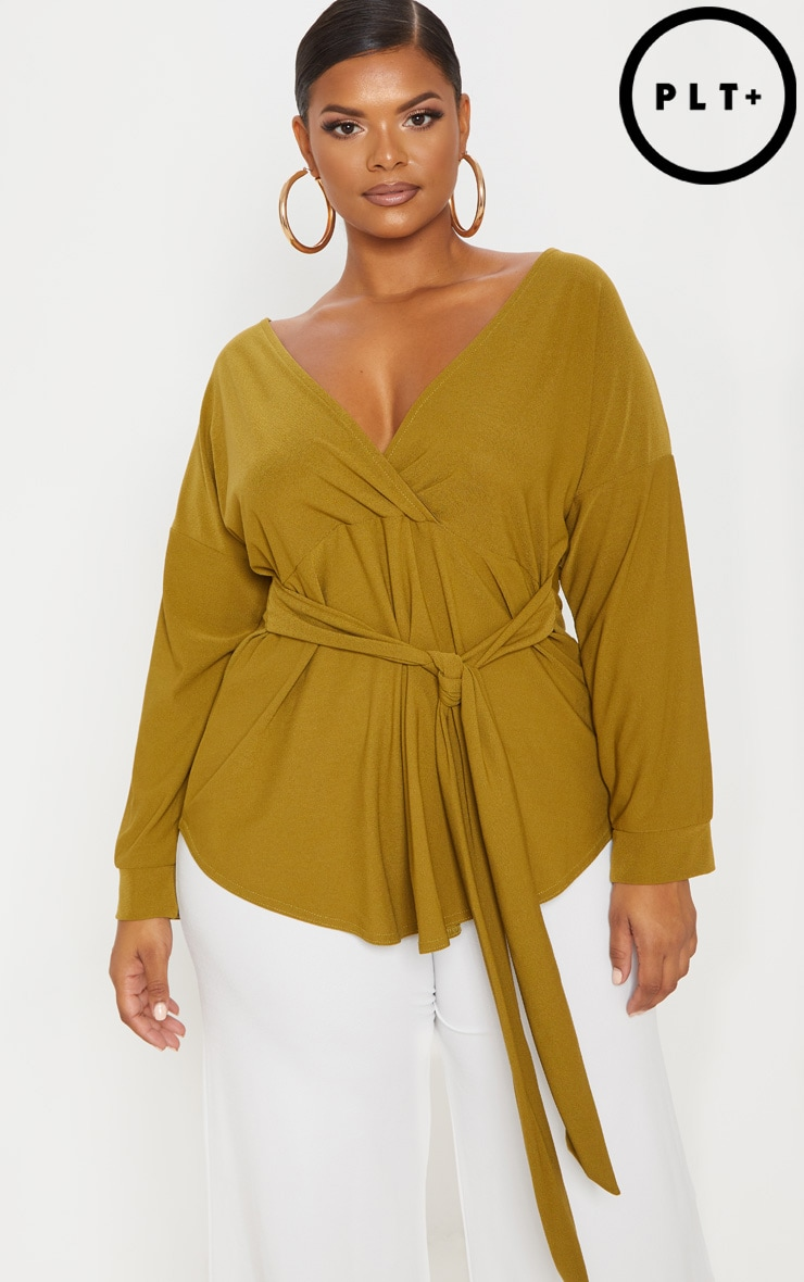 Plus Olive Green Tie Waist Blouse