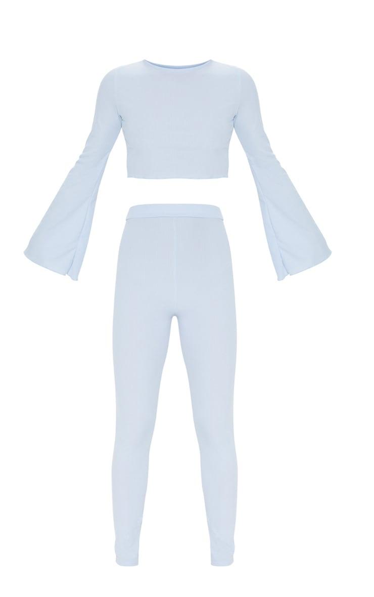 Baby Blue Ribbed Flare Sleeve Long PJ Set 3