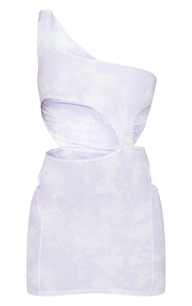 Lilac Tie Dye One Shoulder Cut Out Bodycon Dress 4