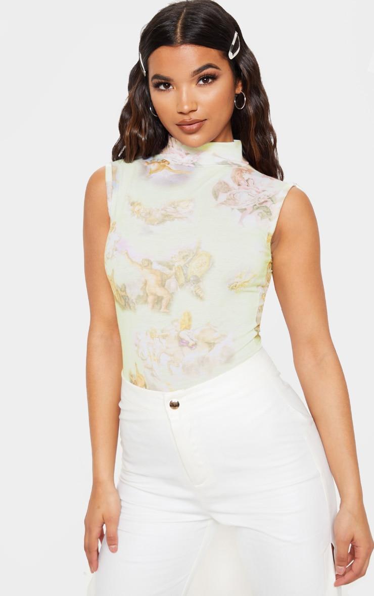 Cream Renaissance Printed High Neck Sleeveless Bodysuit 1
