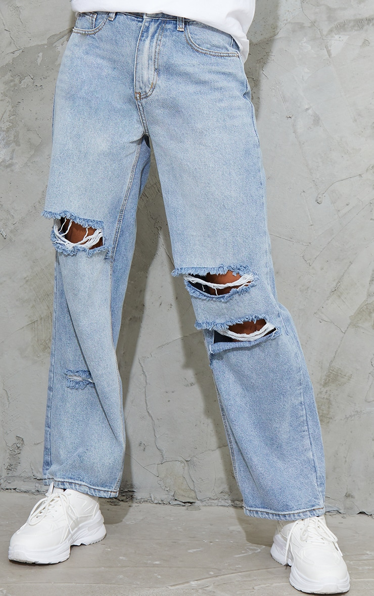 Bleach Wash Baggy Low Rise Ripped Boyfriend Jeans 3