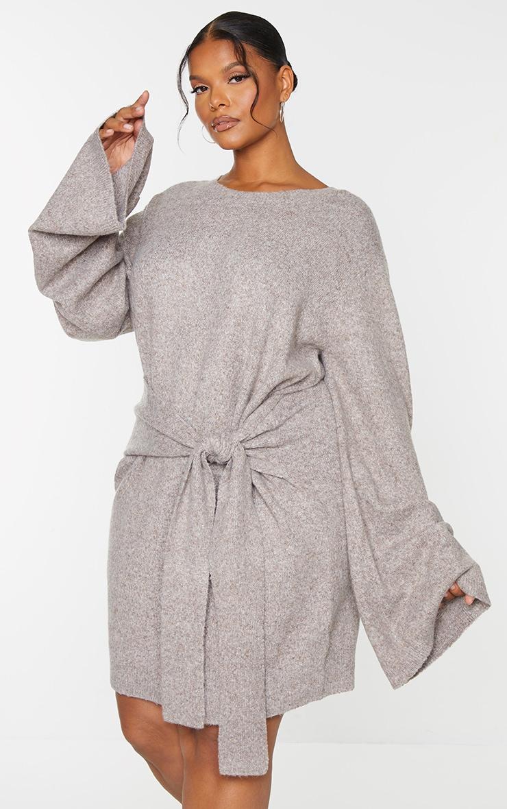 Recycled Plus Mocha Tie Front Sweat Jumper Dress 3