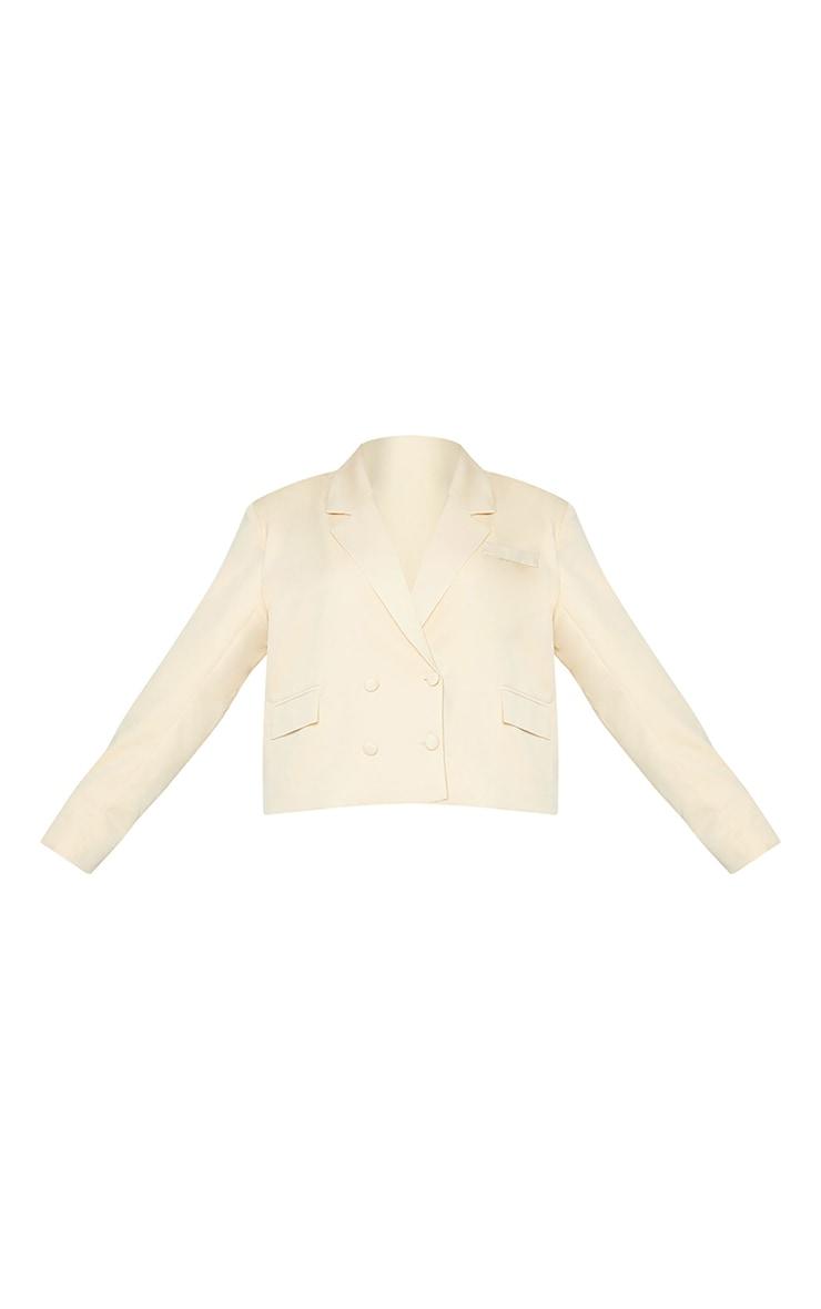 PLT Plus - Blazer oversize gris pierre à épaulettes et double boutonnière 5