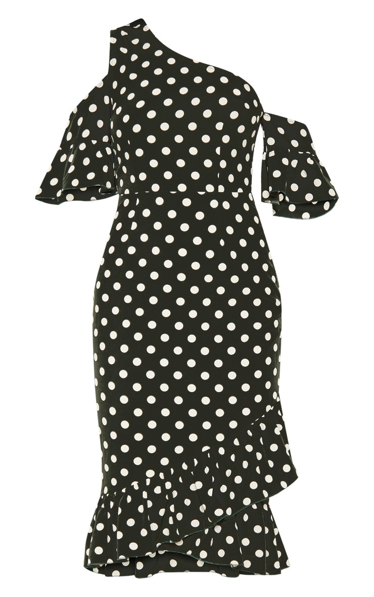 Forest Green Polka Dot One Shoulder Frill Sleeve Midi Dress 3