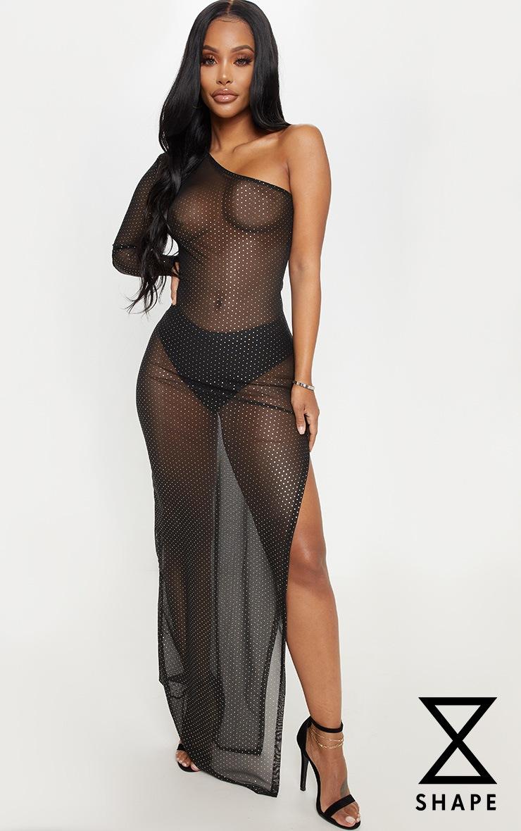 Shape Black Polka Dot Mesh One Shoulder Maxi Dress