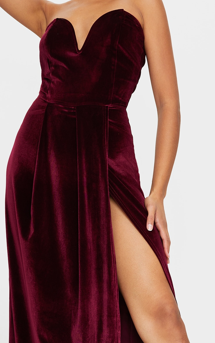 Burgundy Velvet Draped Wrap Detail Bandeau Maxi Dress 4