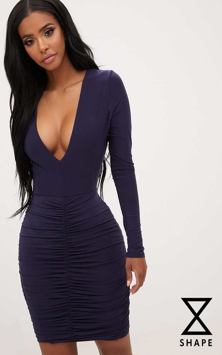 Shape Navy Ruched Slinky Mini Dress