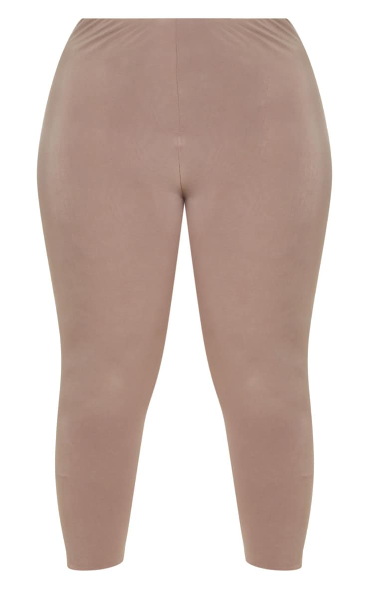 Plus Second Skin Taupe Slinky Cropped Leggings 3