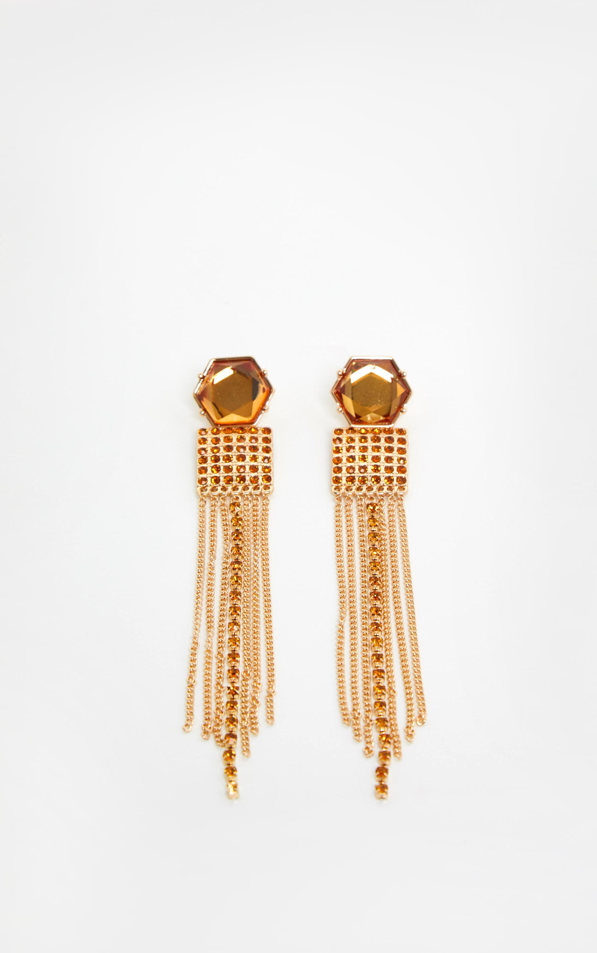 Gold Multi Shape Gemstone Tassel Drop Earrings 2