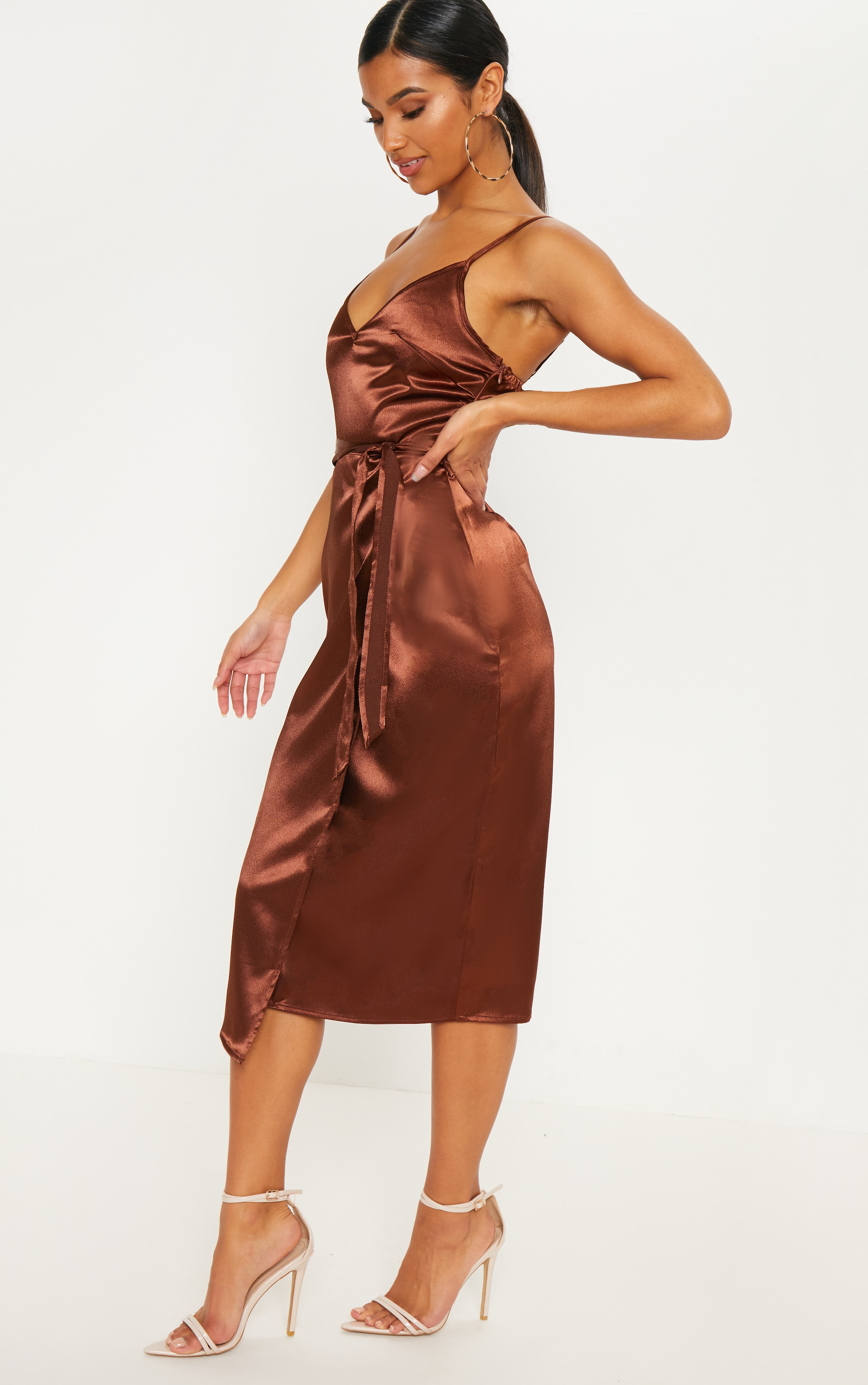 Chocolate Wrap Slip Dress 3