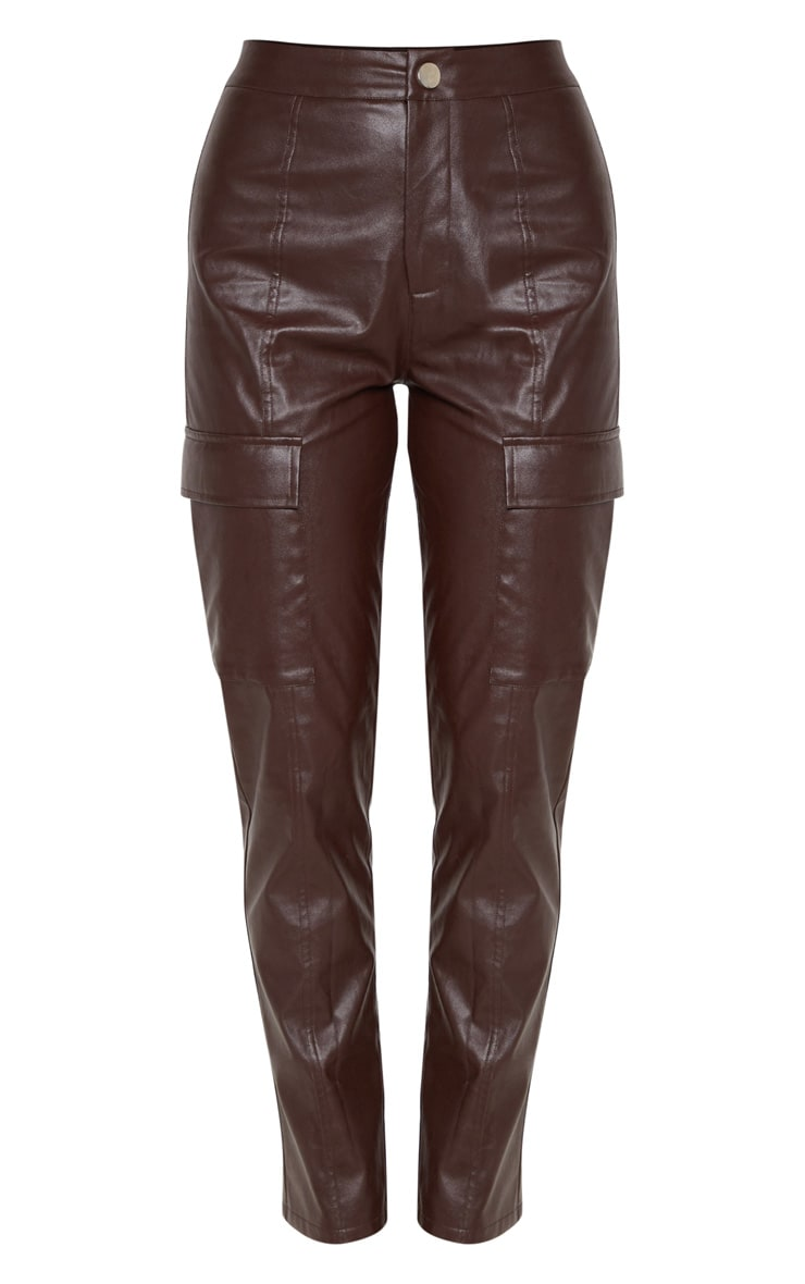 Chocolate Faux Leather Cargo Pocket Straight Leg Trouser  3