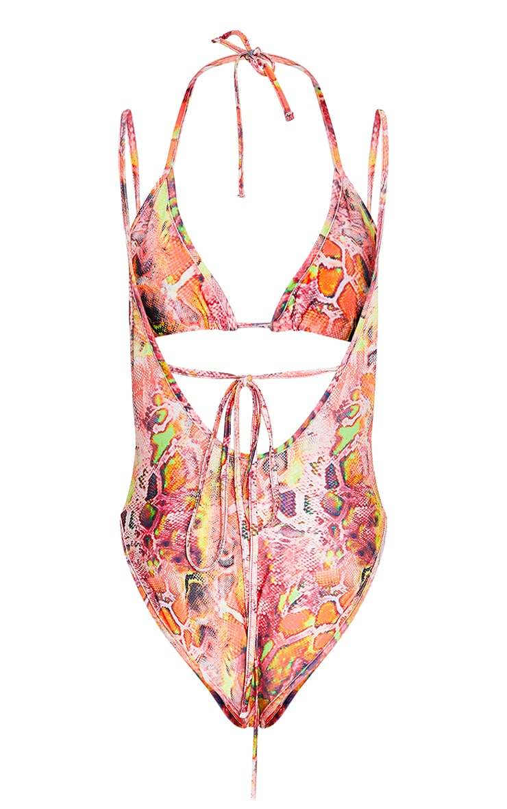 Pink Snake Triangle Wrap Swimsuit Set 6