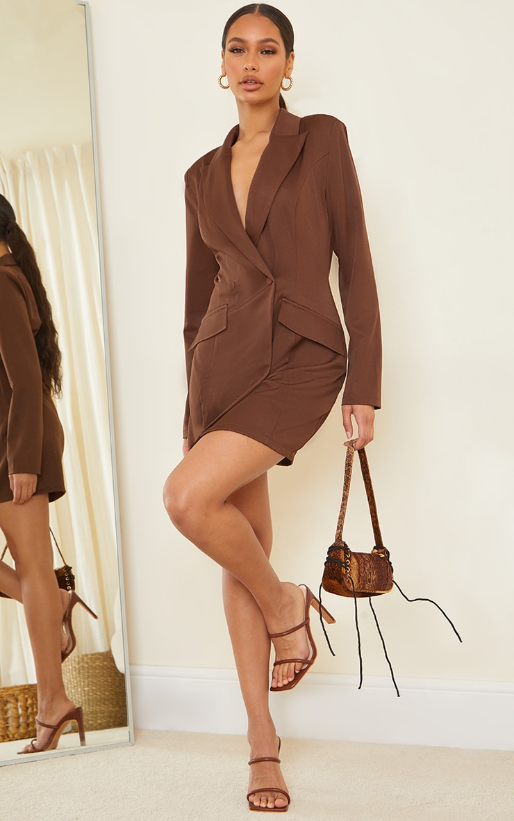 Chocolate Long Sleeve Pinched Waist Button Detail Blazer Dress 3