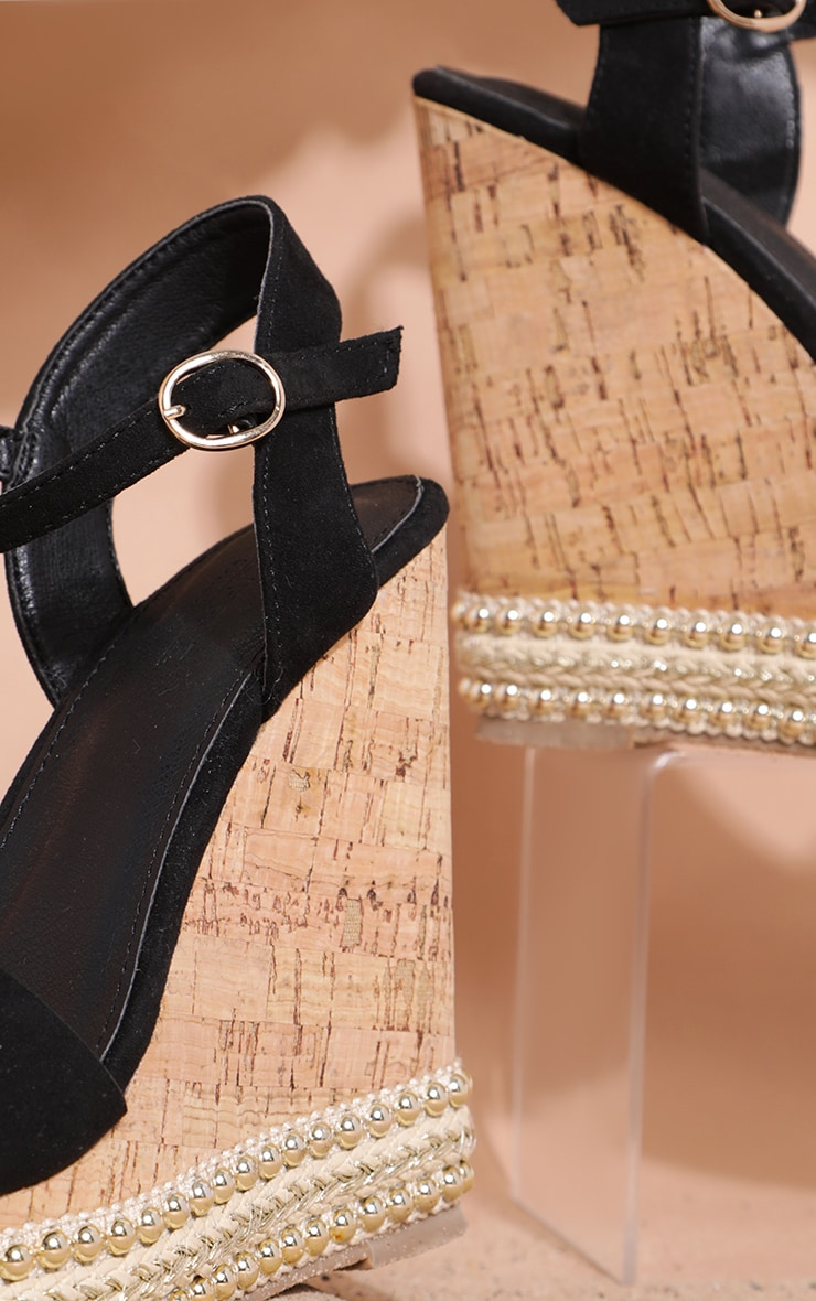 Black Studded Cork Wedge Sandal 4