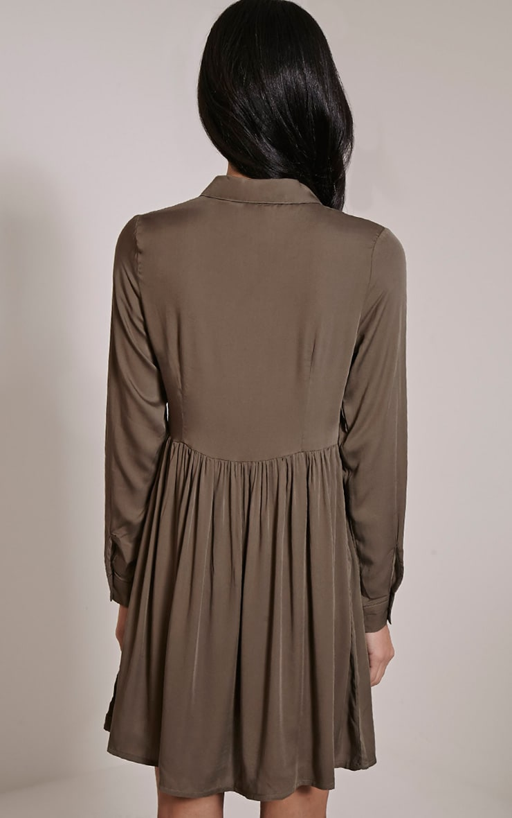 Marcia Khaki Long Sleeve Shirt Dress 2