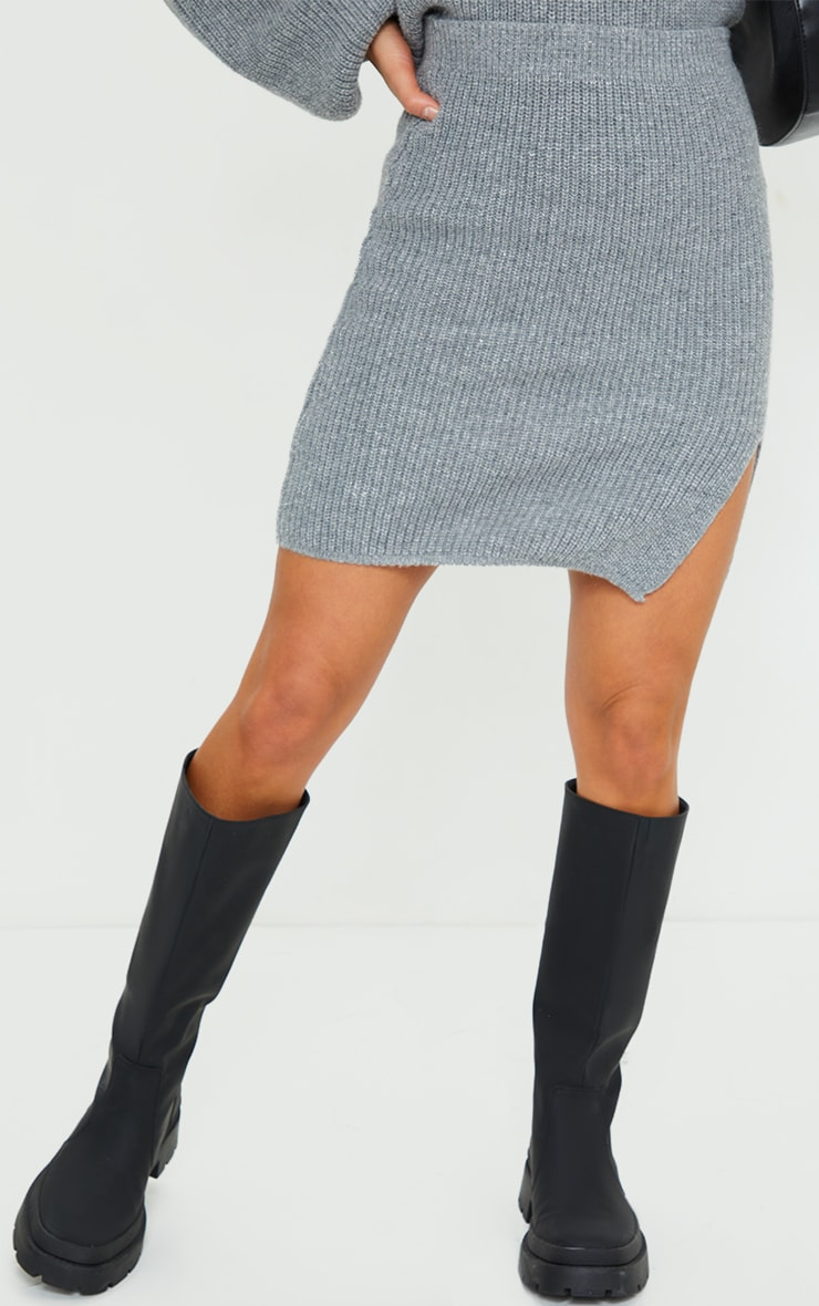 Petite Grey Knitted Split Bodycon Skirt 2