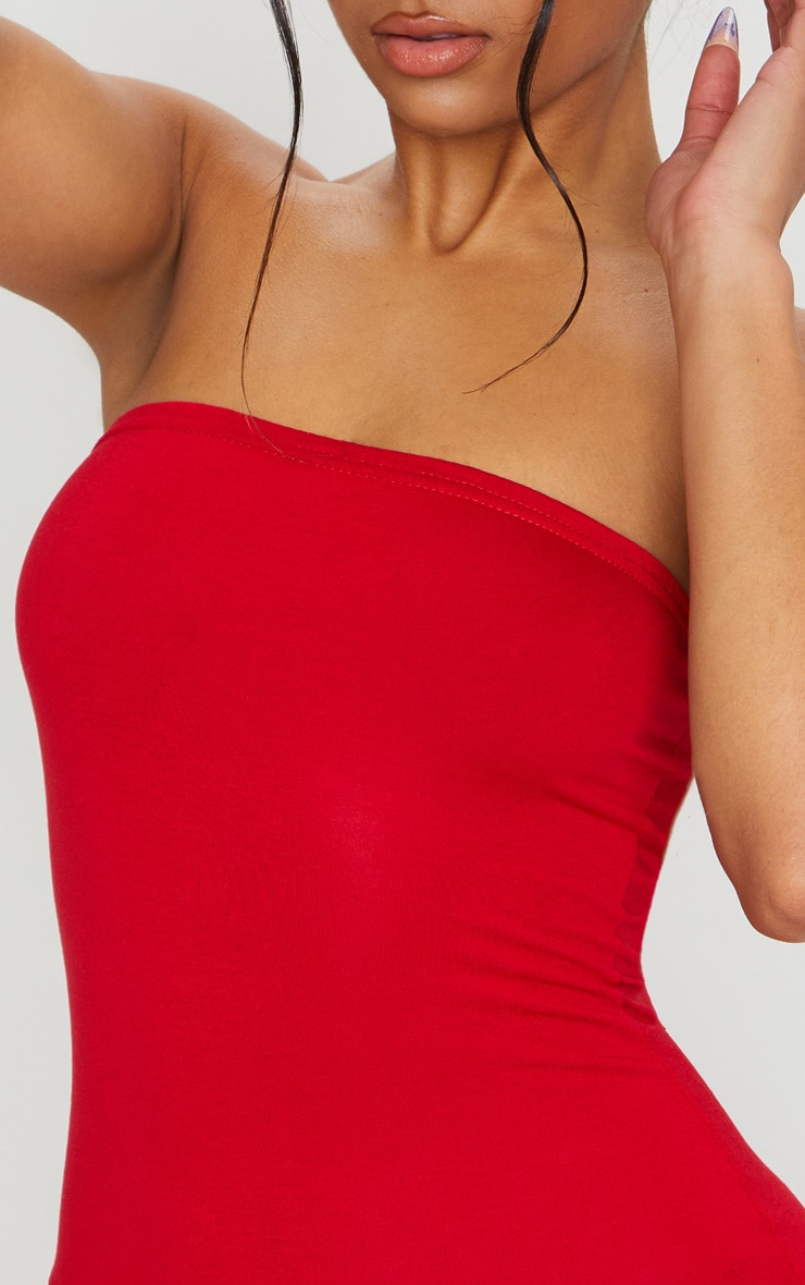 Basic Red Jersey Bandeau Bodycon Dress 5
