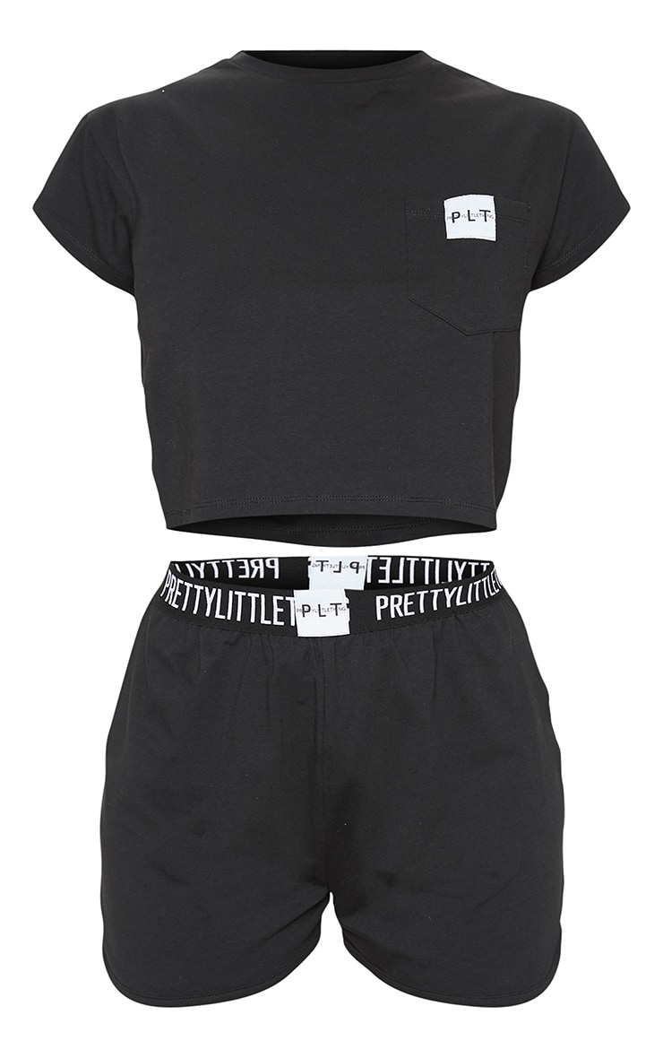 PRETTYLITTLETHING Black T-Shirt And Boxer Short PJ Set 3